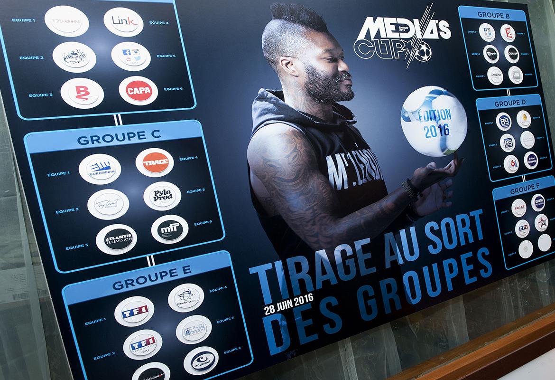 Tableau des poules et équipes de la Media's Cup